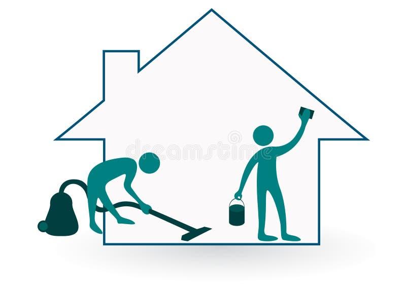 Limpieza de la casa ilustración del vector