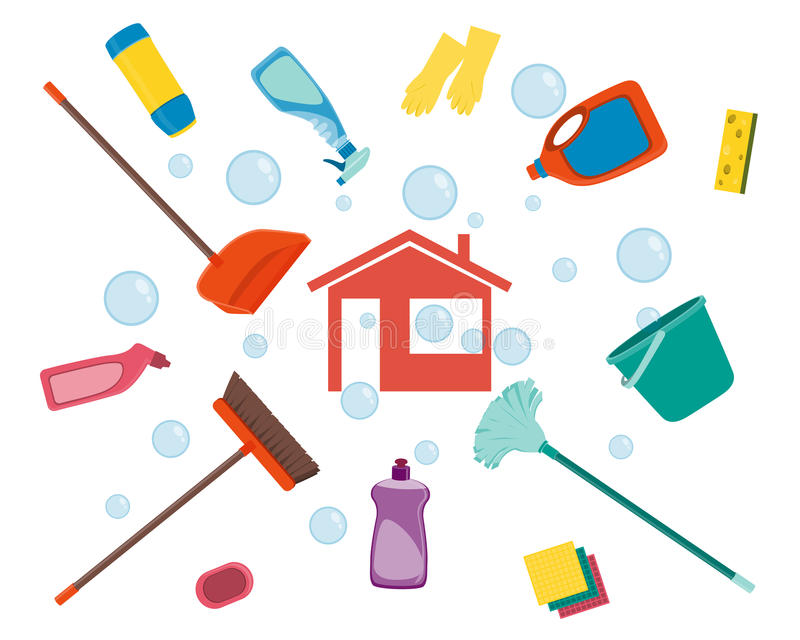 Limpieza de la casa ilustración del vector. Ilustración de ...