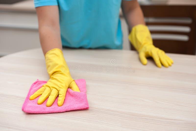 Limpieza de la casa - ama de casa que limpia los muebles fotografía de archivo libre de regalías