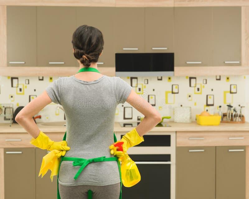 Limpieza de la cocina imagen de archivo