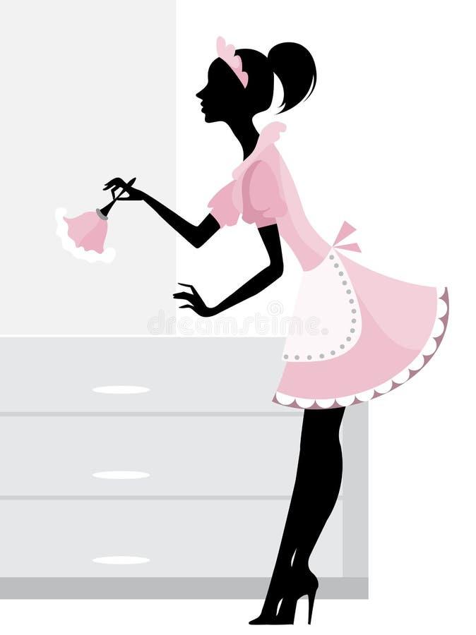 Limpieza de la criada stock de ilustración