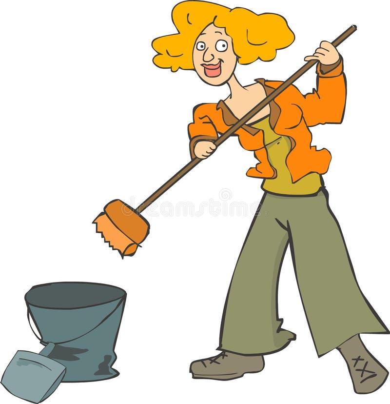 Limpieza de la mujer stock de ilustración