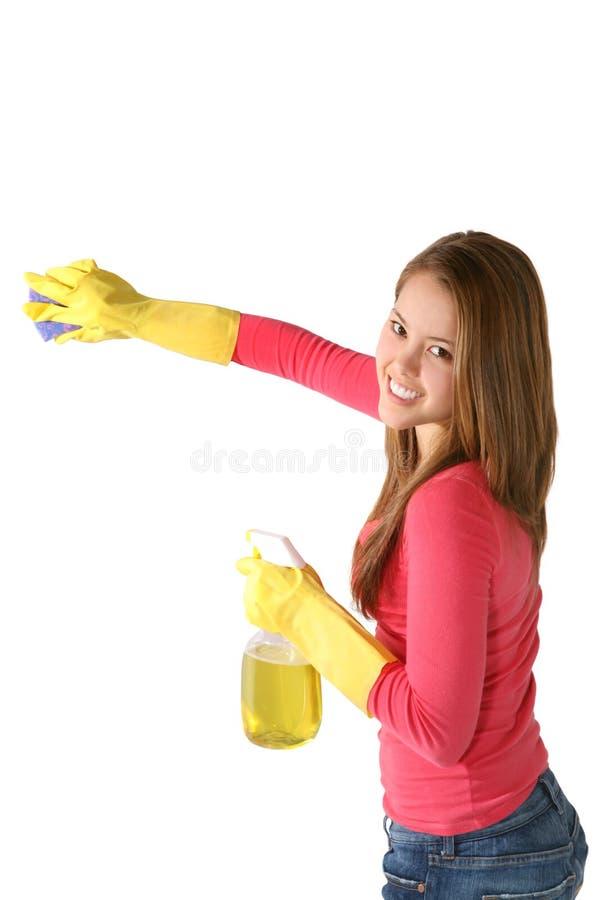 Limpieza de la mujer o de la criada imagen de archivo libre de regalías