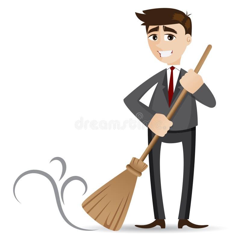 Limpieza del hombre de negocios de la historieta con la escoba stock de ilustración