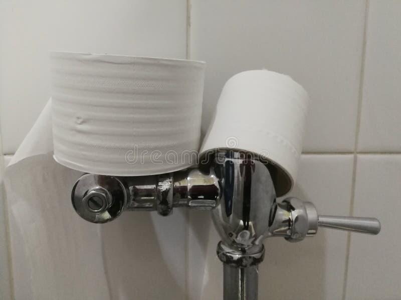 Limpieza del papel higiénico en el cuarto de baño, colocado en el retrete, hecho del acero inoxidable imagen de archivo