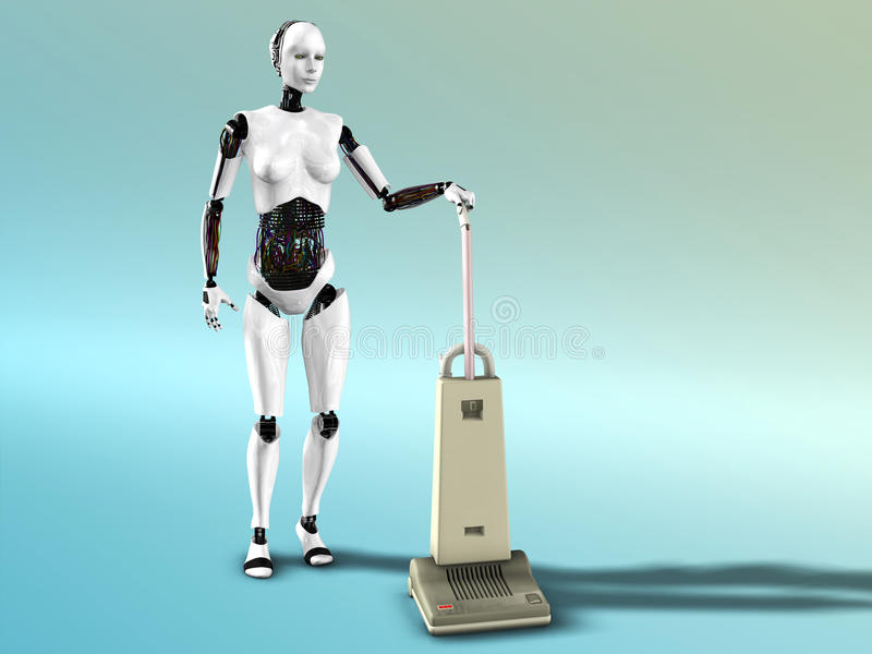 Limpieza femenina del vacío de la robusteza. stock de ilustración