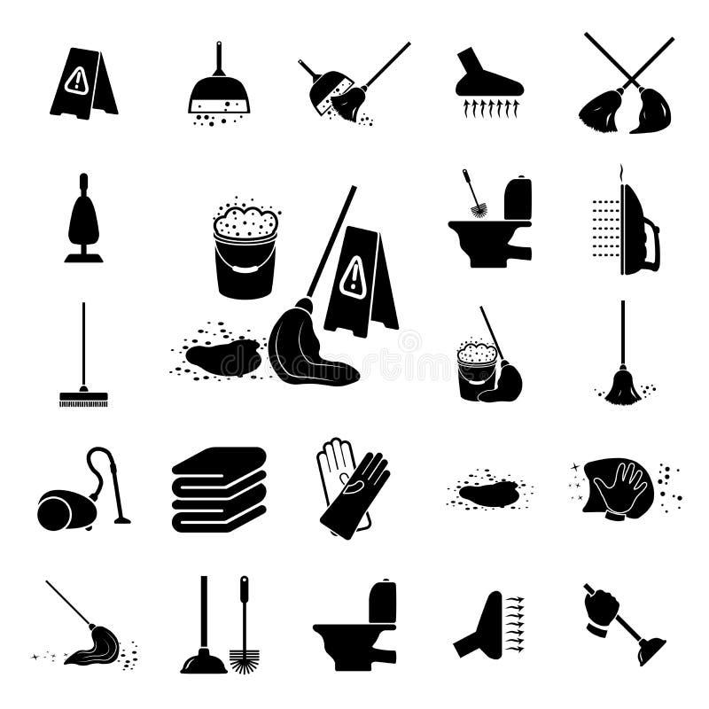 Limpieza fijada iconos ilustración del vector
