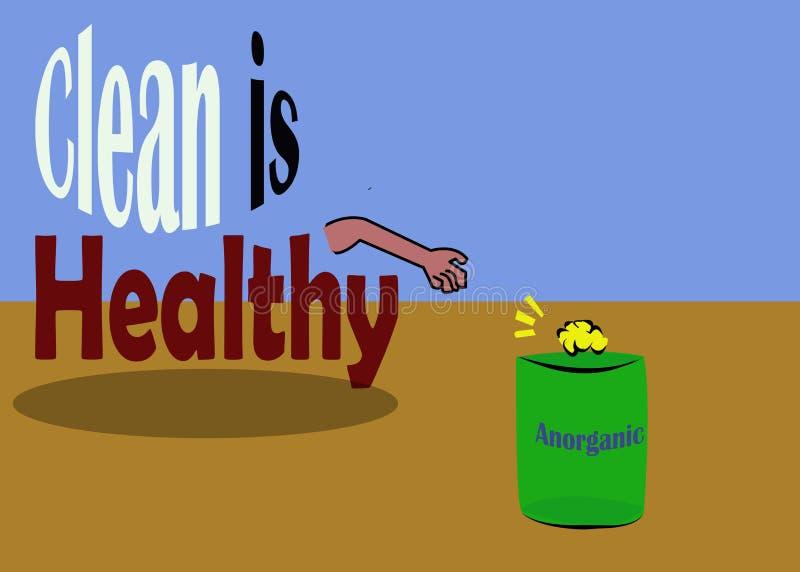 Limpio es el ejemplo sano - sobre basura stock de ilustración