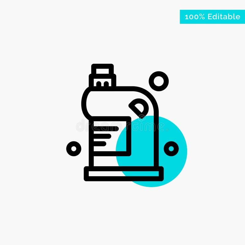 Limpio, limpieza, dren, líquido, icono del vector del punto del círculo del punto culminante de la turquesa del hogar stock de ilustración