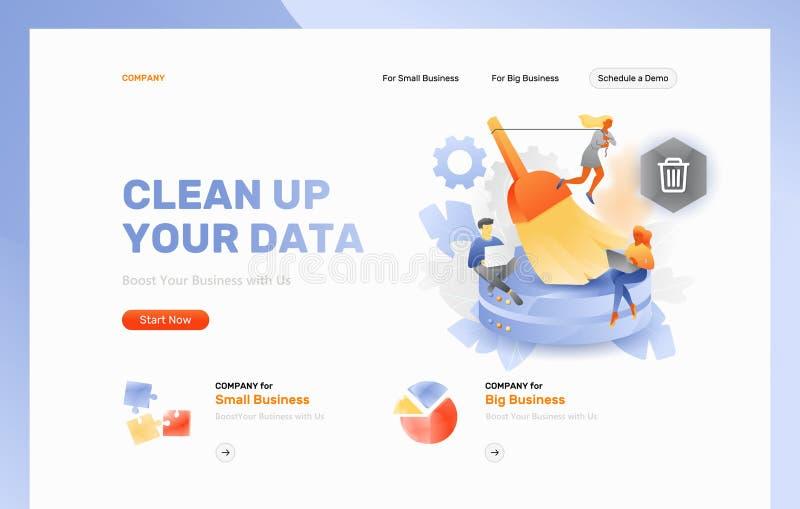 Limpo acima seu encabeçamento do página da web dos dados ilustração do vetor