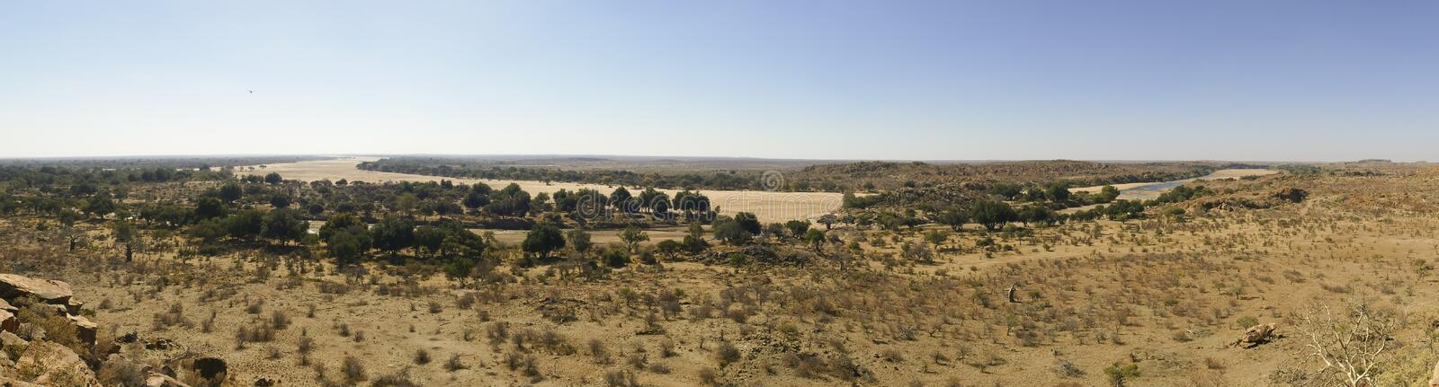 Limpopo river crossing the desert landscape of Mapungubwe Nation stock photos