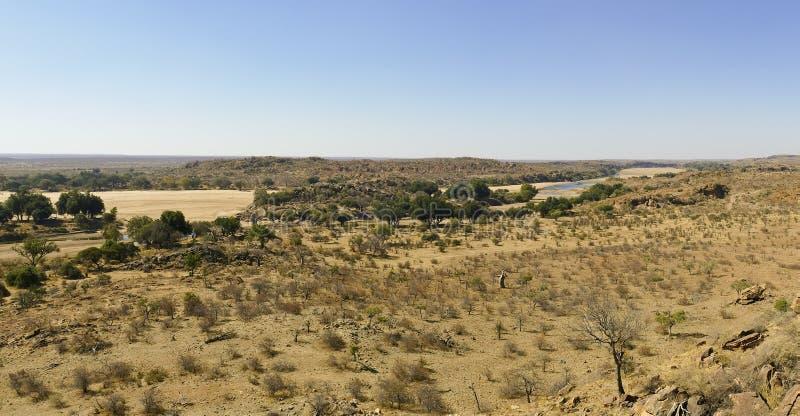 Limpoporivier landschap van de overgang het woestijn van Mapungubwe-Natie royalty-vrije stock foto's