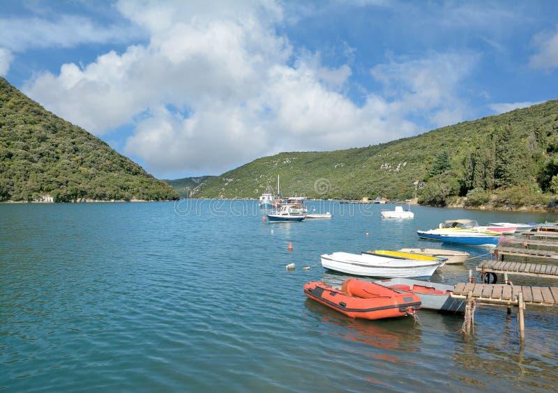 Limski运河,亚得里亚海, Istria,克罗地亚 免版税库存照片