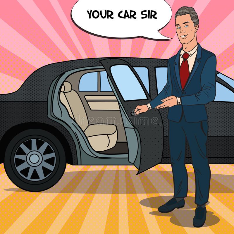 Limusina do preto do ner de Standing do motorista Motorista do carro superior Ilustração do pop art ilustração stock
