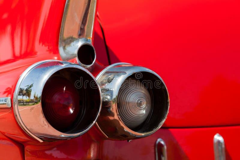 Limusina vermelha retro Parte traseira fotografia de stock