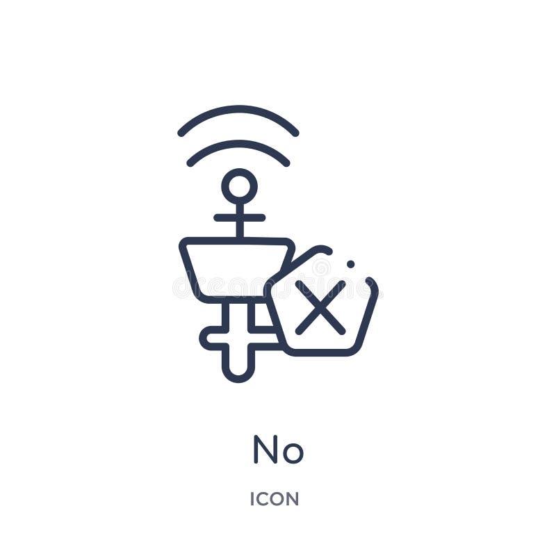 Linéaire aucune icône de collection d'ensemble de connexions d'Electrian Ligne mince aucun vecteur d'isolement sur le fond blanc  illustration de vecteur