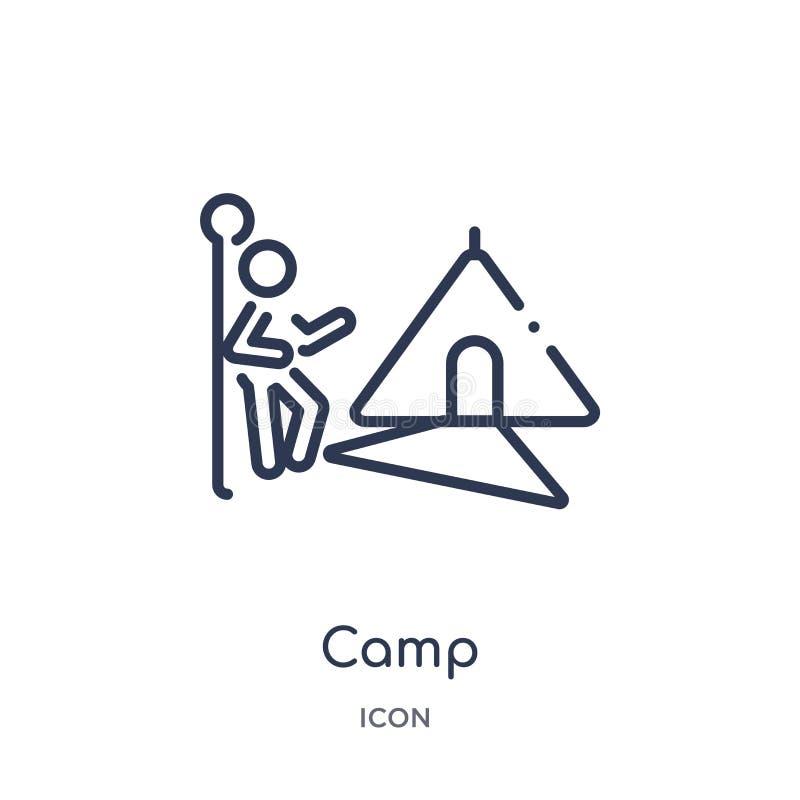 _linéaire camp icône activité et passe-temps contour collection Ligne mince vecteur de camp d'isolement sur le fond blanc camp à  illustration libre de droits