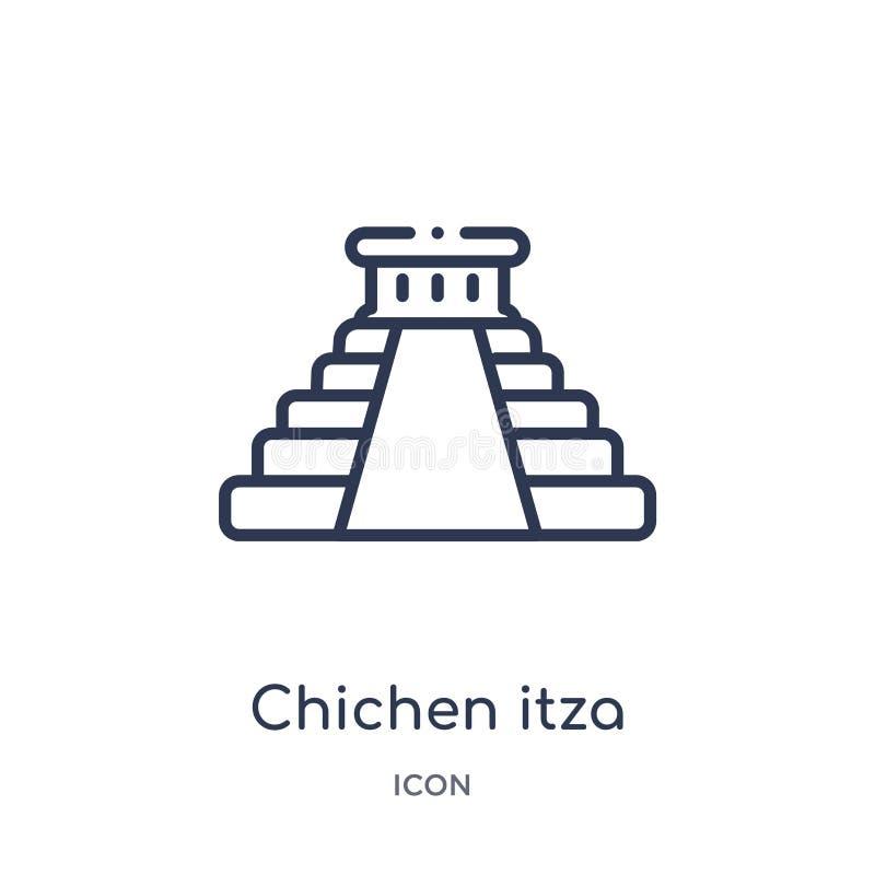 Linéaire chichen l'icône d'itza de la collection d'ensemble de bâtiments La ligne mince chichen le vecteur d'itza d'isolement sur illustration libre de droits
