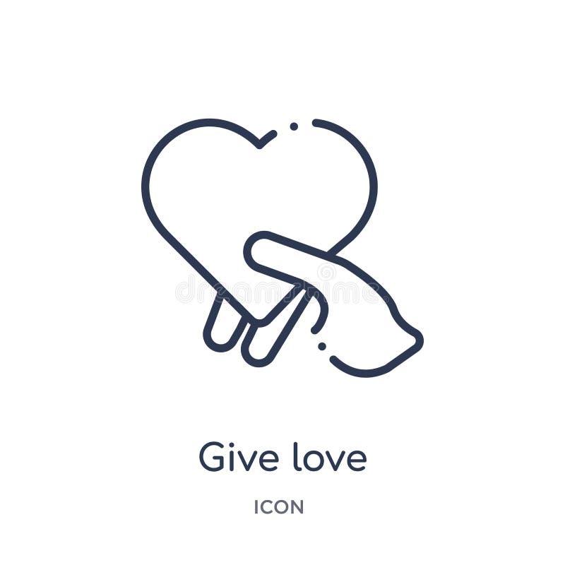 Linéaire donnez l'icône d'amour de la collection d'ensemble de mains et de gestes La ligne mince donnent l'icône d'amour d'isolem illustration de vecteur