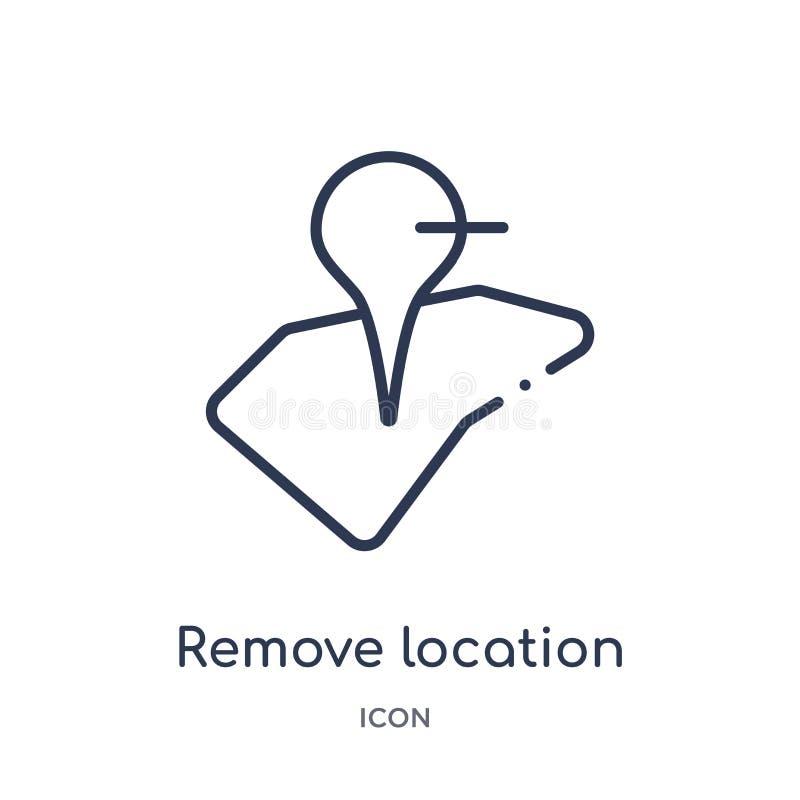 Linéaire enlevez l'icône d'emplacement de la collection d'ensemble de cartes et d'emplacements La ligne mince enlèvent l'icône d' illustration libre de droits