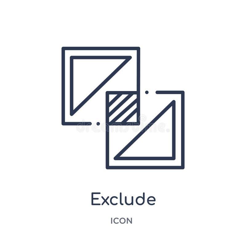 Linéaire excluez l'icône de la collection géométrique d'ensemble de figure La ligne mince excluent l'icône d'isolement sur le fon illustration libre de droits