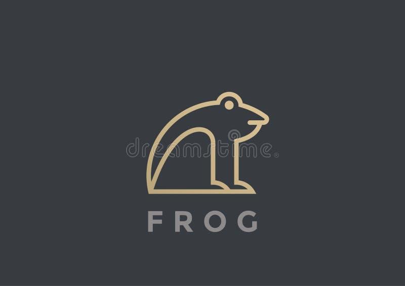 Linéaire géométrique de calibre de conception de vecteur de logo de grenouille illustration libre de droits
