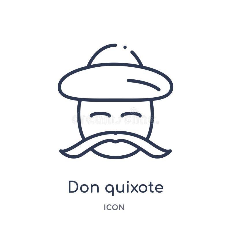 Linéaire mettez l'icône de don Quichotte de la collection d'ensemble d'éducation La ligne mince mettent le vecteur de don Quichot illustration de vecteur