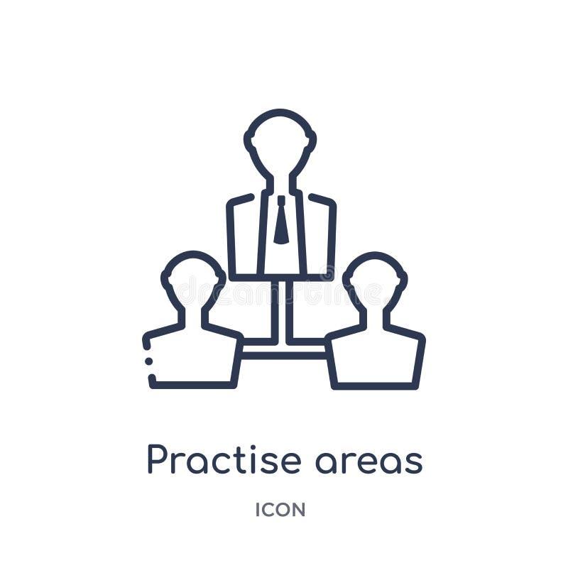 Linéaire pratiquez l'icône de secteurs de la collection d'ensemble de loi et de justice La ligne mince pratiquent l'icône de sect illustration de vecteur