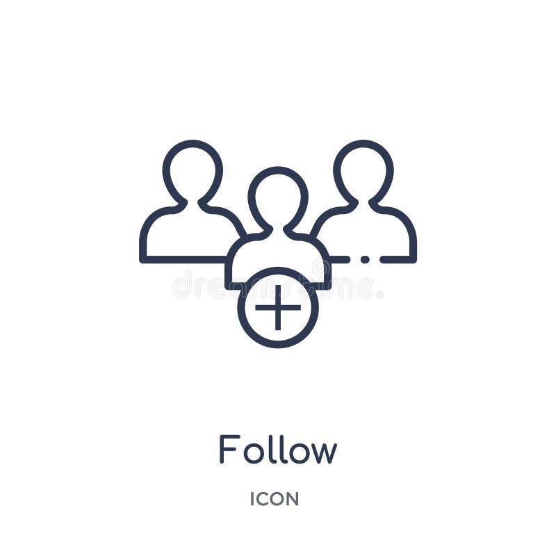 Linéaire suivez l'icône de la collection d'ensemble de Blogger et d'influencer La ligne mince suivent le vecteur d'isolement sur  illustration libre de droits