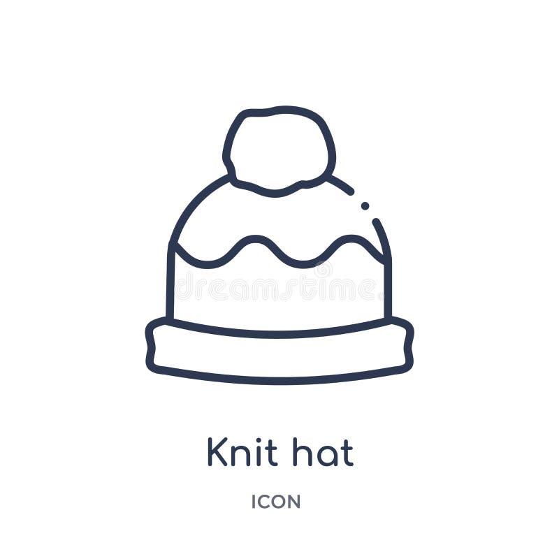 Linéaire tricotez l'icône de chapeau de la collection d'ensemble de mode La ligne mince tricotent l'icône de chapeau d'isolement  illustration stock