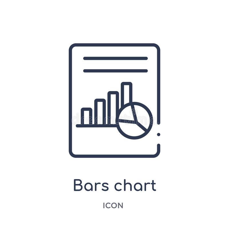 Linéaires histogramme l'icône d'analyse de la collection d'ensemble d'affaires et d'analytics La ligne mince le vecteur d'analyse illustration stock