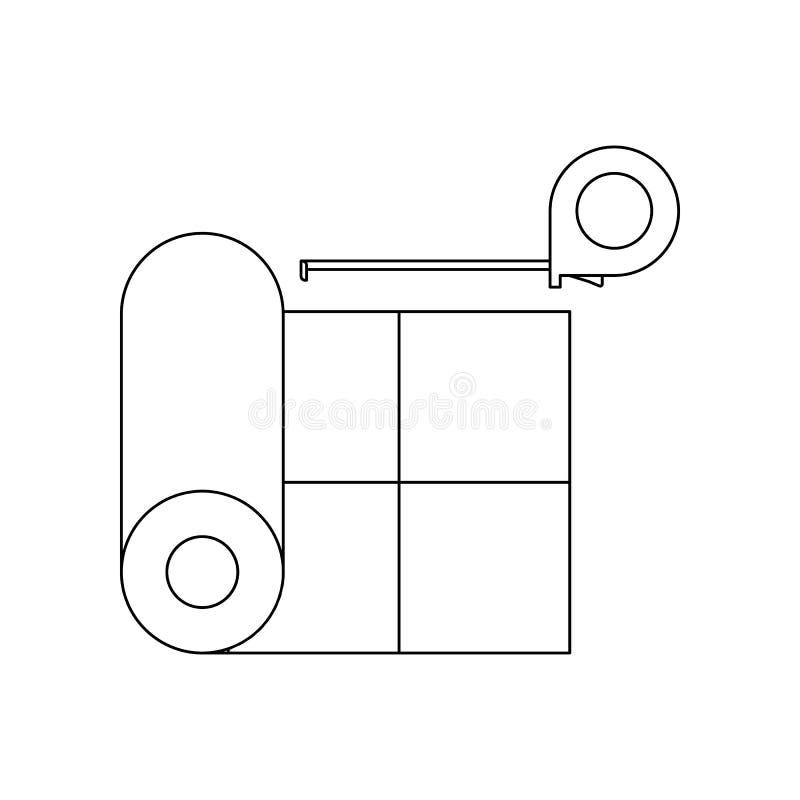 lin?leo da cor e fita m?trica do ?cone Elemento de ferramentas da constru??o para o conceito e o ?cone m?veis dos apps da Web Esb ilustração do vetor