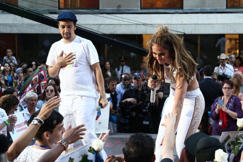 Lin-Manuel Miranda, Jennifer Lopez. NEW YORK-JULY 11: Lin-Manuel Miranda (L) and Jennifer Lopez perform onstage at NBC's Today Show at Rockefeller Plaza on July royalty free stock image