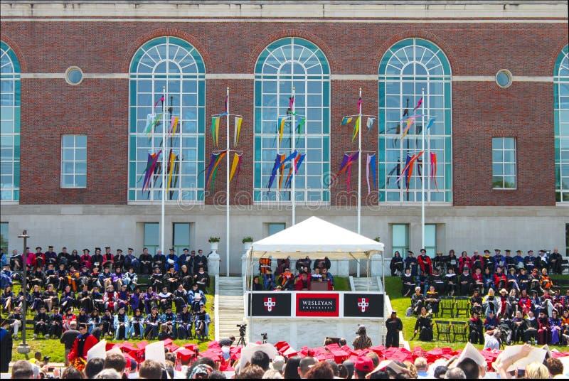 Lin-Manuel Miranda speaking at Wesleyan University Graduation Middletown Conneticut USA circa May 2015. Lin-Manuel Miranda speaking at outdoor Wesleyan stock images