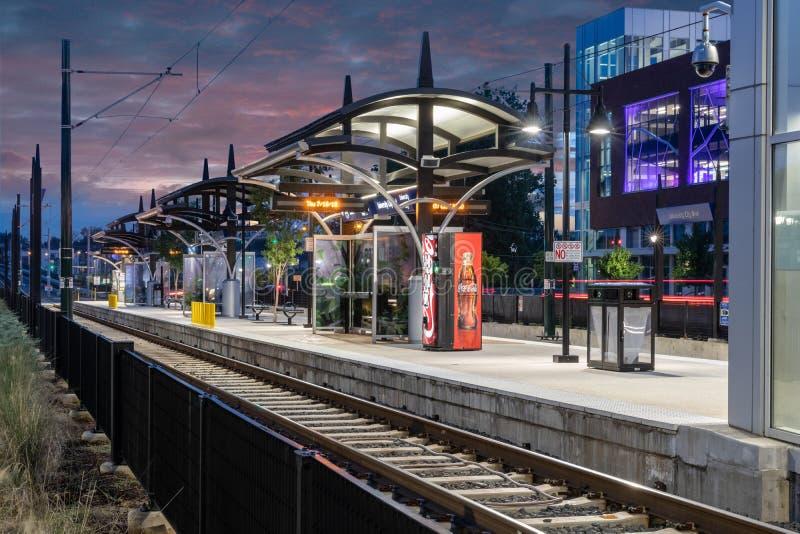 Lince Blue Line, trilho leve, Charlotte, NC fotografia de stock royalty free
