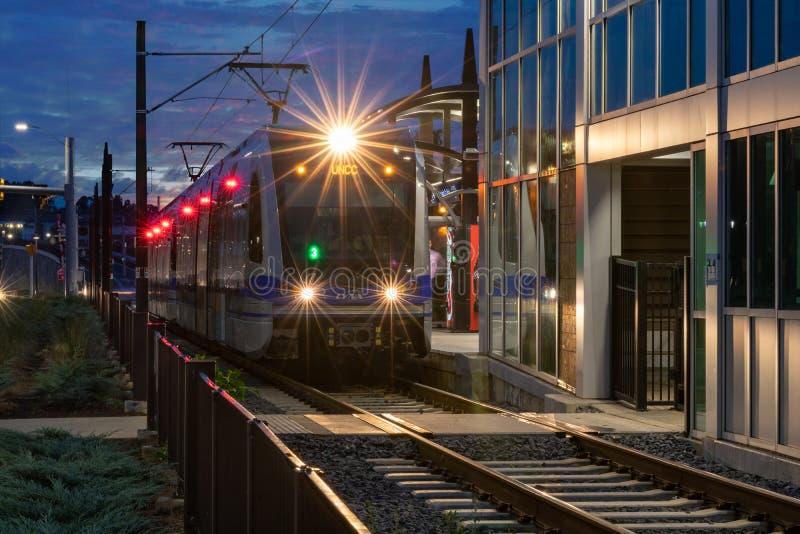 Lince Blue Line, trilho leve, Charlotte, NC imagens de stock royalty free