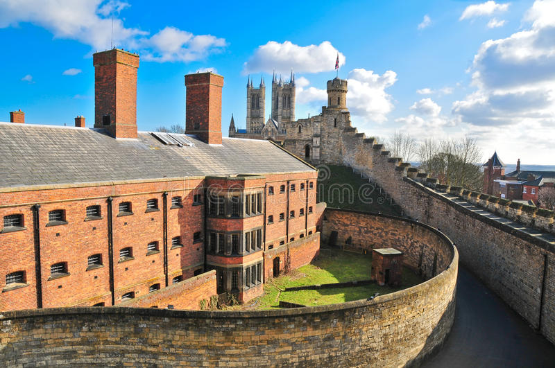 Lincoln castle and cathedral stock images