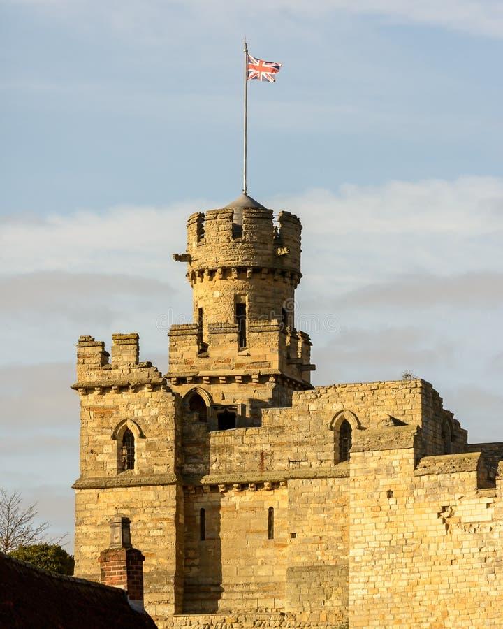 Lincoln Castle Turret med fackliga Jack Flag arkivfoto