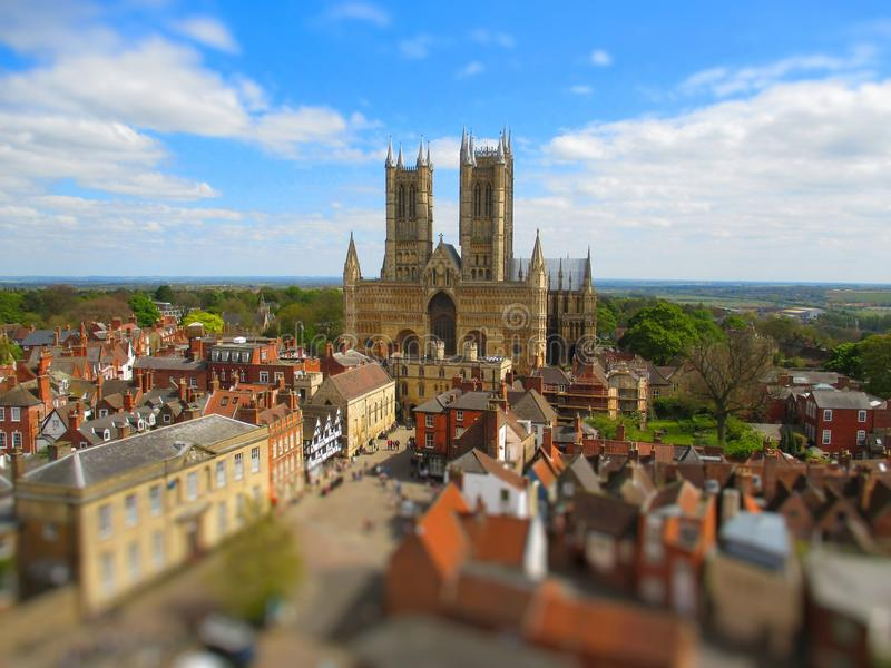 Lincoln Cathedral. Aerial view of Lincoln Cathedral, Lincolnshire, England stock image