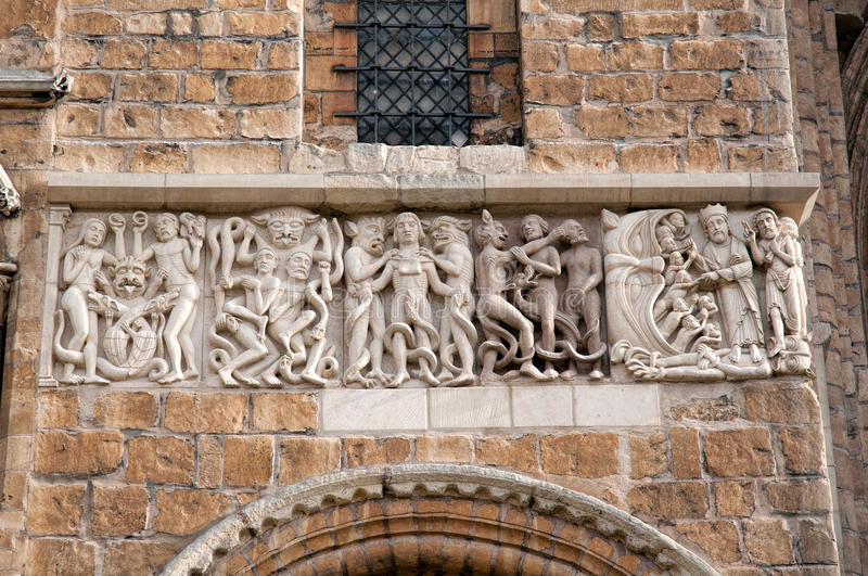 Lincoln Cathedral carvings. Restored carvings of the west face of Lincoln Cathedral, UK stock image