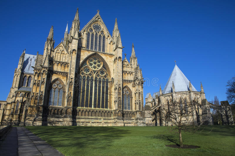 Lincoln Cathedral and Chapter House. A view of the eastern facade of Lincoln Cathedral and the Chapter House in the historic city of Lincoln, UK stock photography