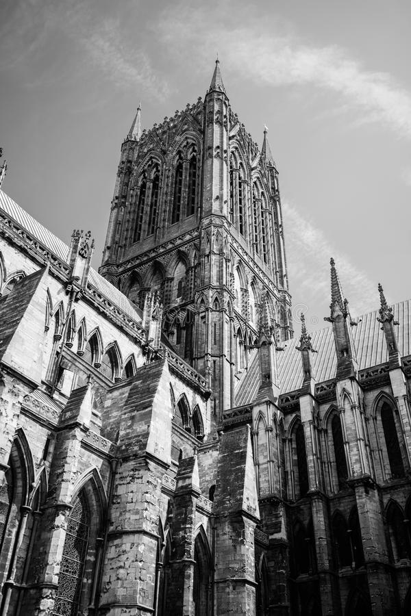Lincoln Cathedral during the day in black and white. Lincoln Cathedral during the day in summer, one of the most spectacular cathedral`s across the UK stock images
