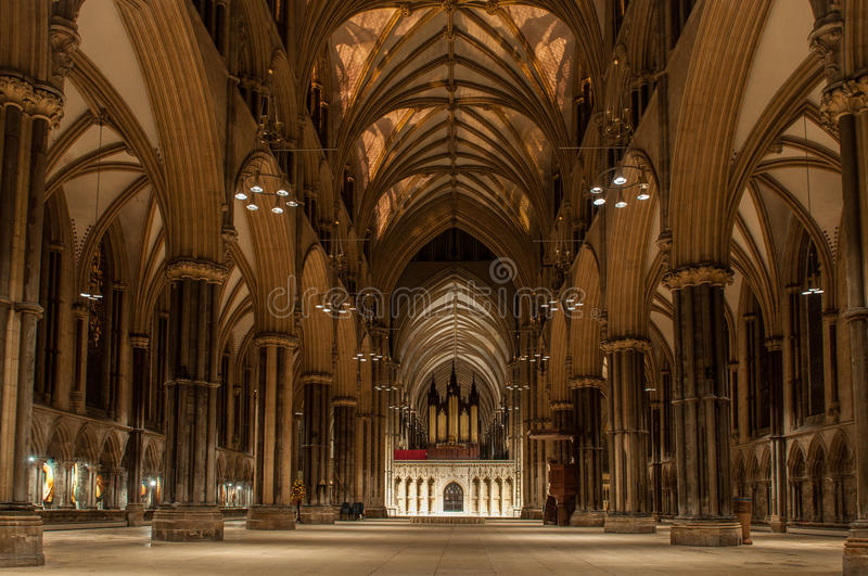 Lincoln Cathedral, England. The main nave of the Lincoln Cathedral (The Cathedral Church of the Blessed Virgin Mary of Lincoln). This Gothic church was the royalty free stock photos