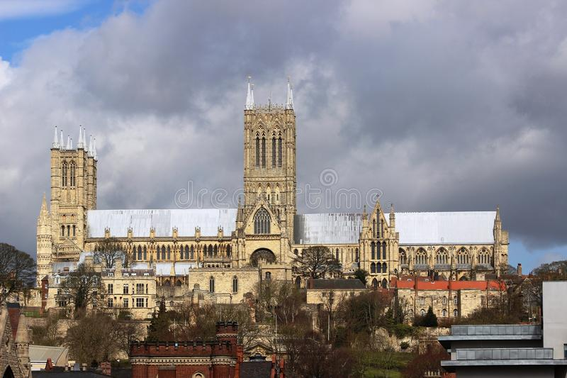Lincoln Cathedral, Lincoln, Lincolnshire, Engeland stock afbeelding