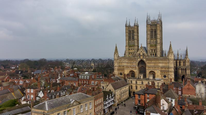 Lincoln Cathedral in Lincolnshire, England, UK. The Lincoln Cathedral is a striking landmark in Lincolnshire, England, UK royalty free stock photos