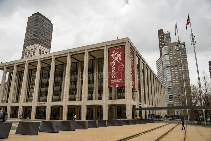 The Lincoln Center Plaza in NYC It is home to the Metropolitan Opera royalty free stock images