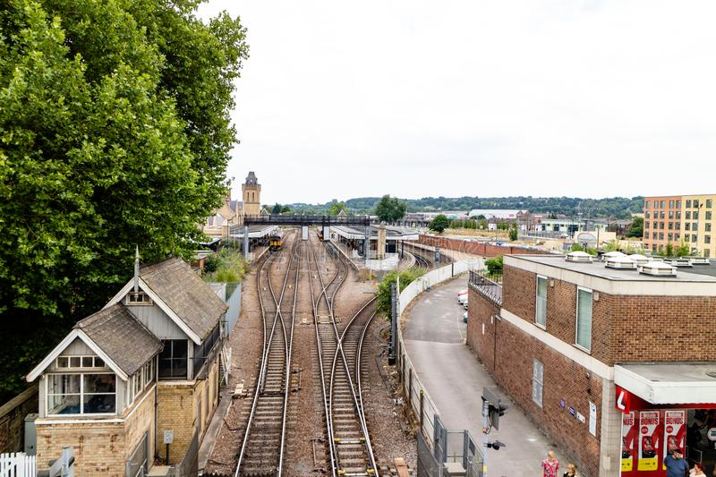 Lincoln Förenade kungariket - 07/21/2018: Lincoln City Train Station royaltyfri foto