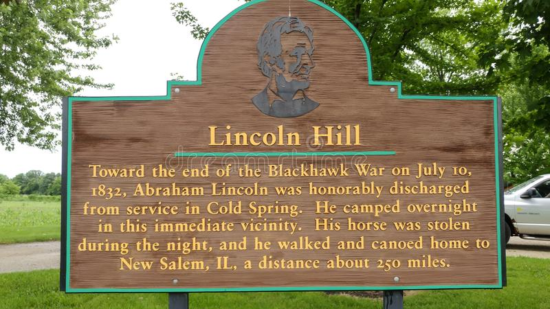 Lincoln Hill Historical Marker - Cold Spring, Wisconsin stock foto