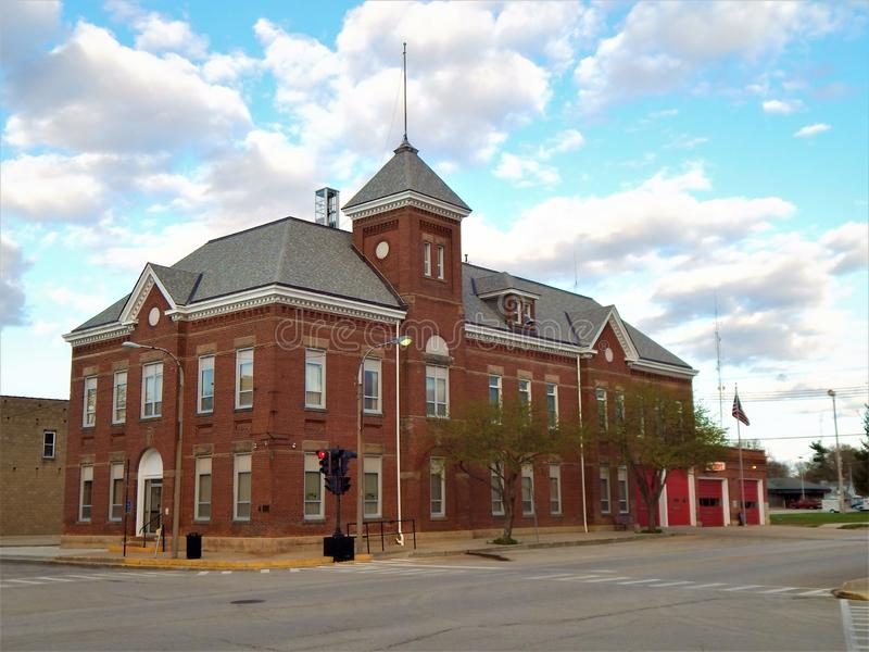 Lincoln Illinois posterunek straży pożarnej i urząd miasta obraz royalty free