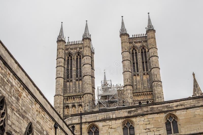 Lincoln, Lincolnshire, Engeland - de kathedraal die omhoog eruit zien royalty-vrije stock fotografie